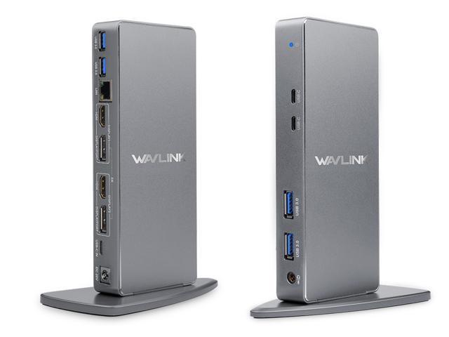 Wavlink Universal 5K USB C & USB A Laptop Docking Station, 5K or Dual 4K Video Docking Station, 2 X HDMI, 2 x DisplayPort, Gigabit Ethernet,  2 X USB-C 3.1, 4 x USB 3.0, Audio, Mic, For Windows & Mac
