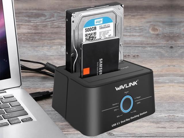 "Wavlink USB 3.1 Dual Bay 12TB HDD/SSD Docking Station w/ 5Gbps USB-C Cable for All SATA 2.5"" 3.5"" Hard Disk Offline Clone + One Button Backup Multitask External Storage Enclosure - Duplicator Dock"