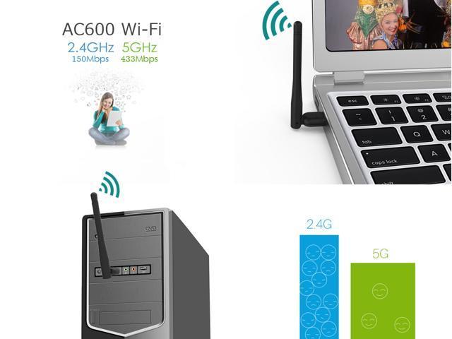 Wavlink 600M Wifi Adapter, 802.11ac/a/b/g/n 3dbi Antenna Network Lan Card 2.4G/150Mbps + 5G/433Mbps For Windows XP/Vista/7/8/8.1/10 (32/64bits) MAC OS