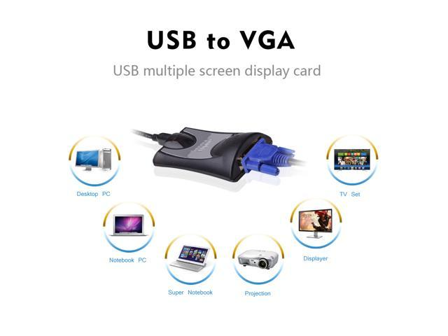 Wavlink USB to VGA Video Graphics Adapter Multiple Displays up to 1920x1080 (Supports Windows 10, 8.1,7, XP ) DisplayLink DL-165 graphics chipset Connects Extra Monitor ( HDTV, LCD, Projector )