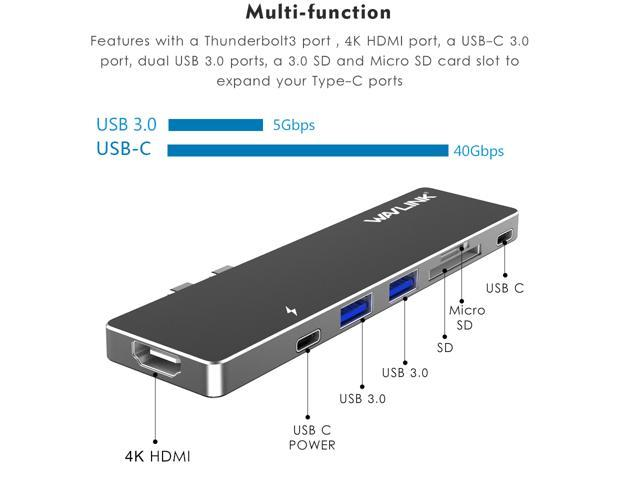 Wavlink Aluminum USB-C Hub Adapter for Macbook Pro 2016/2017 13'' & 15'' ,Best dock - 5K 40GbS, 4K HDMI, Pass-Through Charging, USB-C Port, 2 USB 3.0, SD/Micro SD Card Reader - Gray