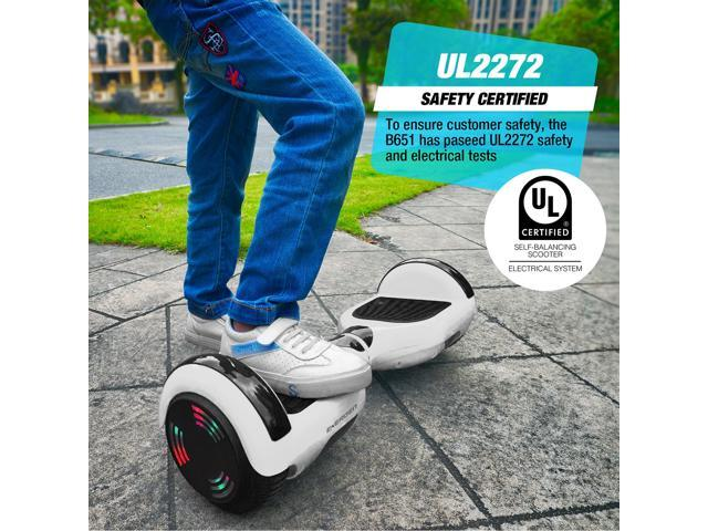 Energen® B651 Hoverboard Self-balancing Electric Scooter Hoverboard - White Color - Active Balance Technology, Built-in Wireless Speaker &  LED Lights, UL 2272 Certified