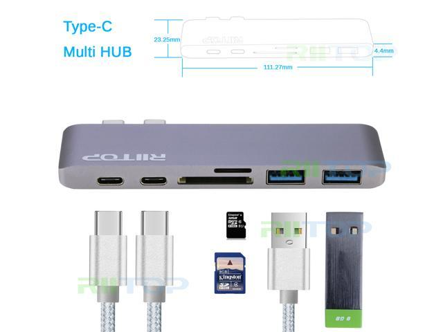 """USB C HUB Adapter, USB Type C to USB 3.0 Hub Card Reader Adapter with PD Charger Port for Macbook Pro 13"""" 15"""" 2016 2017, Grey Aluminum"""