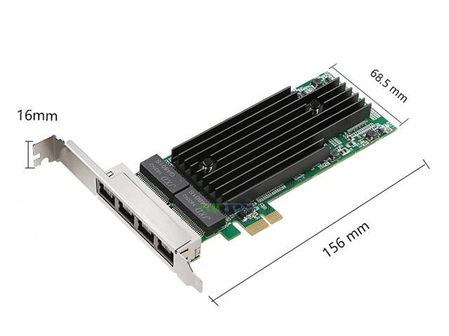 RIITOP PCI-e Express x1 Network Adapter Adaptor Card 4 Ports Quad 10/100/1000 Mbps RJ45 Gigabit Ethernet LAN Card Controller with Intel 82575 Chipset