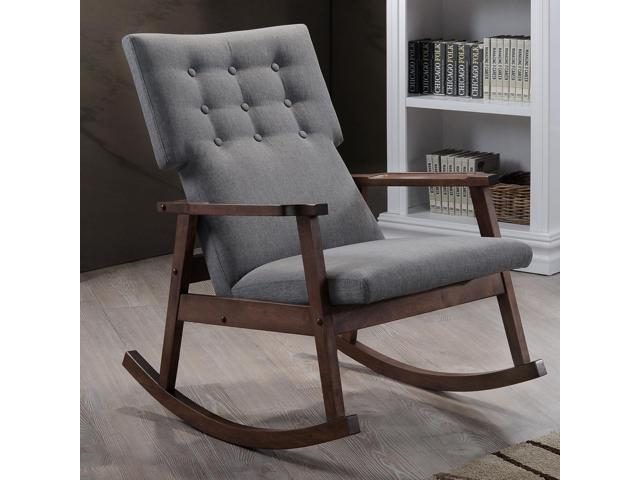 ... Agatha Mid Century Modern Grey Fabric Upholstered Button Tufted Rocking  Chair