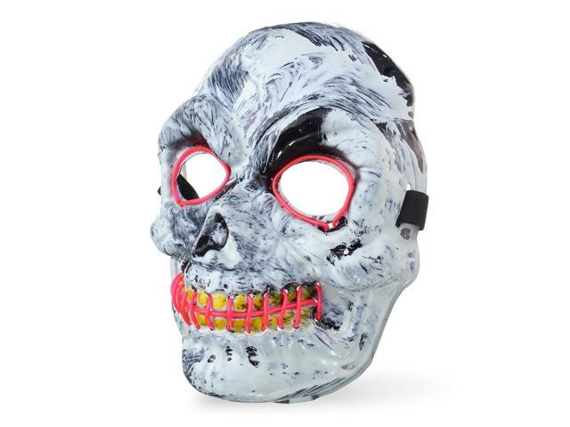 led light up skeleton skull mask scary halloween adult costume party accessory