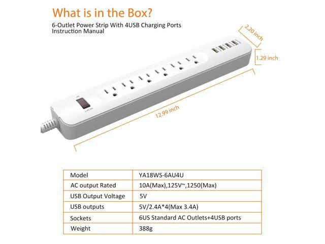ELEGIANT 6-Outlets Power Strip 4-High-Speed USB Ports (Max3.4A) with 6-Foot Cord Wall Mountable Charging Station for iPhone, iPad, Samsung Home & Hotel