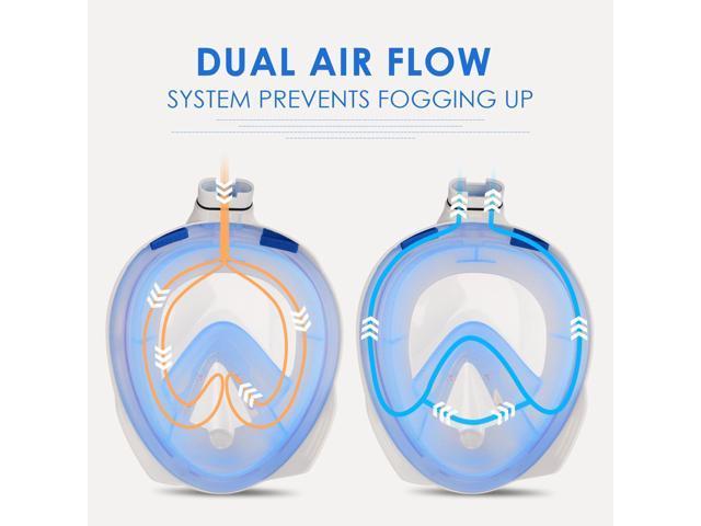 (4 Packs) Family Pack VANGOGO 180° Full Face Snorkel Mask With Gopro Mount, Anti-fog and Anti-leak Technology for Adult, Youth   Black / Black (Large +  Medium)+ Blue/ White ( Large + Medium)