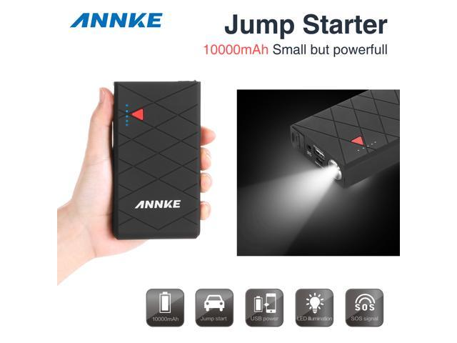 ANNKE 10000mAh Compact Car Jump Starter and Portable Charger Power Bank with 400A Peak Current, Built-In LED Flashlight(Black)