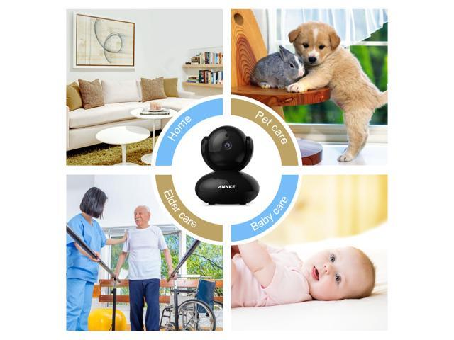 ANNKE HD 1080P Smart Wi-Fi Pan&Tilt Security Camera, with 2-Way Audio and Motion Detection, for Bay/Pet Monitor, Black