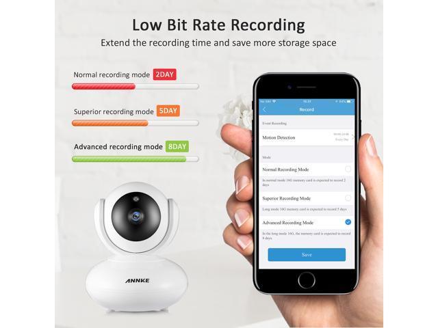 ANNKE Smart Wireless 1080P IP Camera, Work with Alexa (Echo Show/Echo Spot), Auto Tracking, APP Alarm Push, Two-Way Audio, Support 64GB TF Card, Cloud Storage