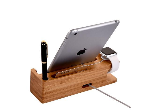 elecshell wood stand with 3 in 1 desktop charging dock station for apple watch and all iphone. Black Bedroom Furniture Sets. Home Design Ideas