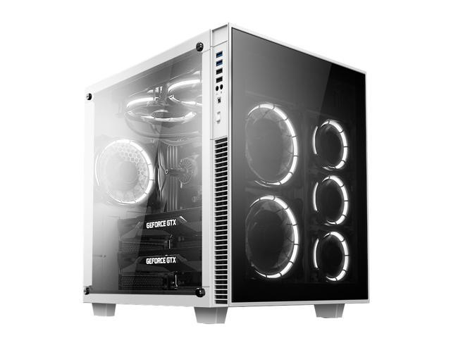 anidees AI-CL-Cube-W Lite Cube ATX Tempered Glass Gaming Case, Compatible with EATX/ATX M/B - White version