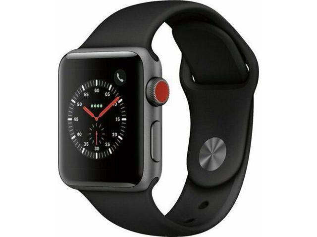 Refurbished: Apple Watch Series 3 42mm GPS + Cellular 4G LTE - Space Gray - Black Sport Band