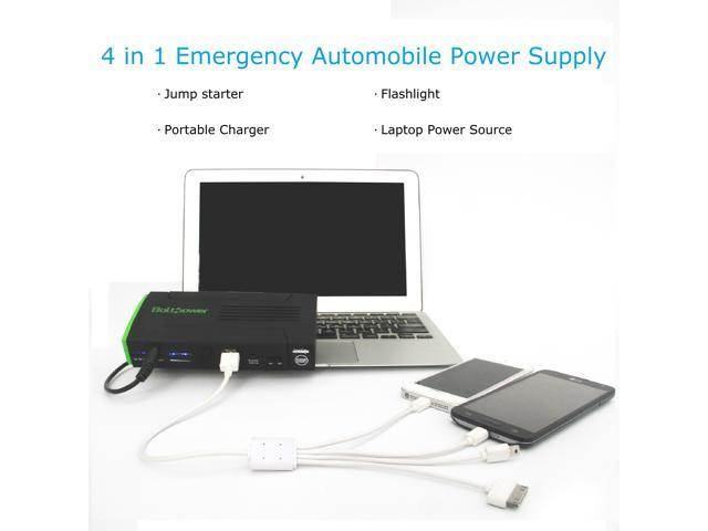 Bolt Power D28A 13600Mah Portable Car Jump Starter 500 Peak Amps with Compact Air Compressor, Power Bank, Automobile and Laptop Emergency Power Supply