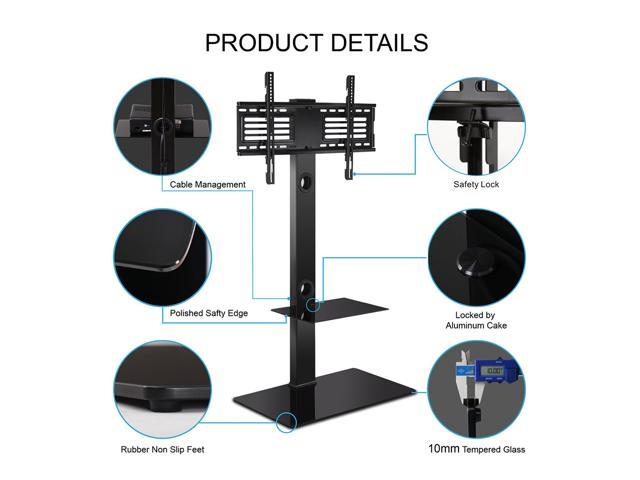 Fitueyes TV Stand With Swivel Mount Component Shelf For 32