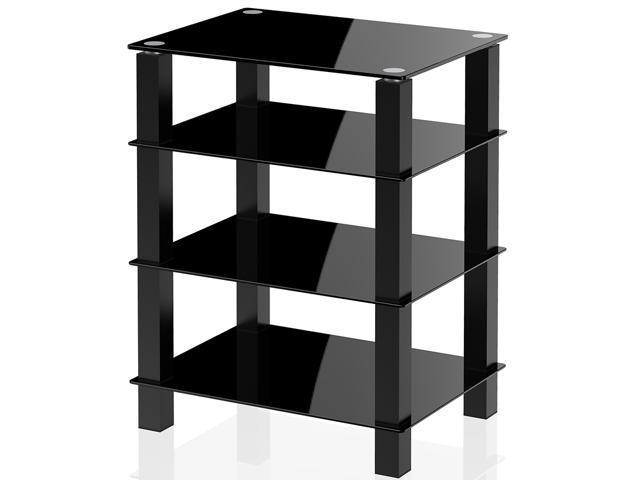Superbe FITUEYES TV Media Stand Glass Shelves Storage For AV Components Console  Speakers Black ...