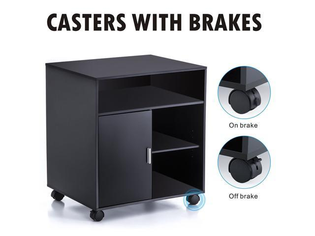 Fitueyes Office Printer Cart Computer Stand File Storage Drawer Shelf Wood Mobile Cabinet with Wheel