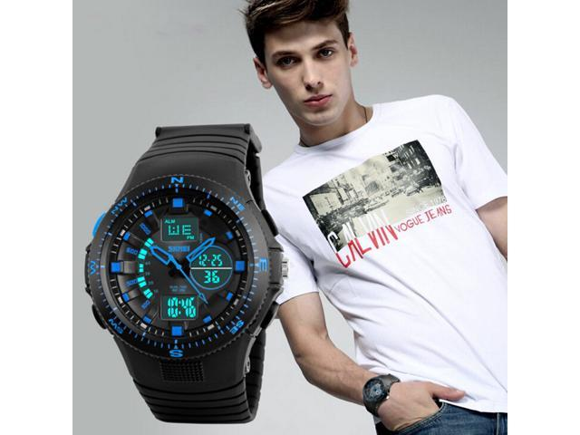 TinkSky Multifunctional Dual Display Watches for Men Waterproof Sports Watch (Blue)