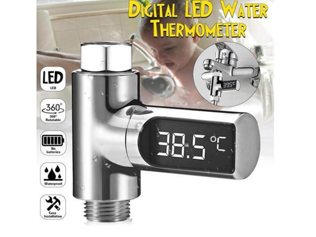 LED Digital Shower Thermometer Battery Free Real Time Water Temperature Monitor Kids Adults - Silver