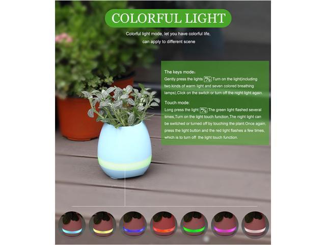 Smart Flowerpot Wireless Bluetooth Speaker Stereo Sound Night Lamp Music Pot -White