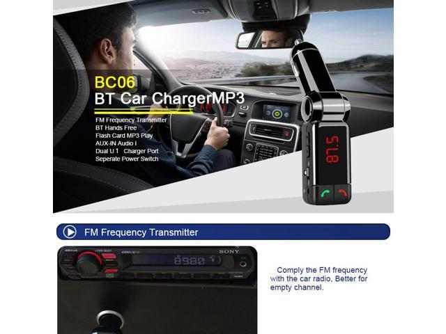 Earldom BC06 Dual USB Car Charger Bluetooth Handsfree Call FM Transmitter Car MP3 Player - Black