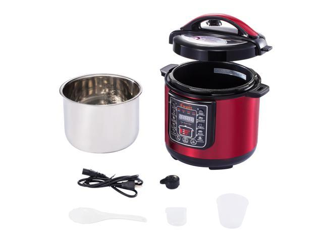 Ewant Stainless Steel Multifunctional Electric Pressure Cooker, Super Safe & Reliable Programmable with 3 Level Pressure Setting, 6 QT, Red
