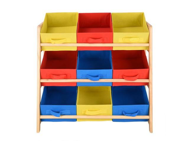 Wood Frame Organizer Toy Storage Shelf with 9 Removable Bins for Playroom Drawing Room