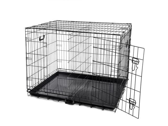 42 2 Doors Foldable Metal Wire Dog Crate Tray Divider Cat Pet
