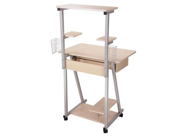 rolling table office furniture work tables small mobile computer desk tower printer shelf laptop study home