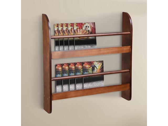 2 Tier Wood Wall Mounted Bookshelf Floating Shelf Book Rack Organizer Display Space Saving Home