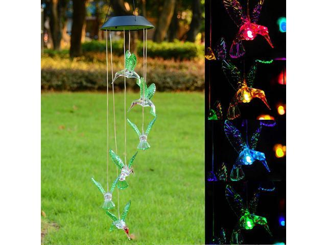 2Pcs Solar LED Color Changing Wind Chime Mobile Light Lamp Hummingbird Santa Home Garden Yard Decor