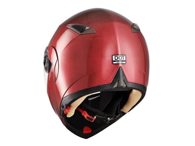 Full Face Flip up Modular Motorcycle Helmet DOT Approved Dual Visor Motocross Red M
