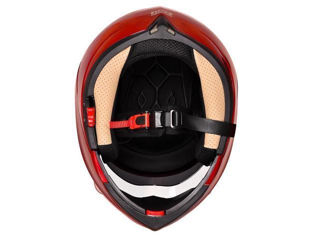 Full Face Flip up Modular Motorcycle Helmet DOT Approved Dual Visor Motocross Red XL