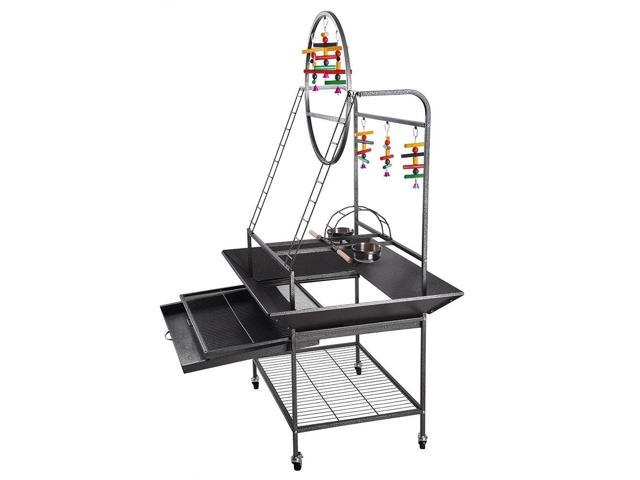 large o pet parrot play stand bird cage gym perch with feeding cups rolling caster