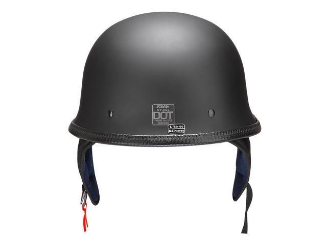 DOT German Style Motorcycle Half Helmet Open Face Cruiser Chopper Biker Skull Cap Helmet Black L