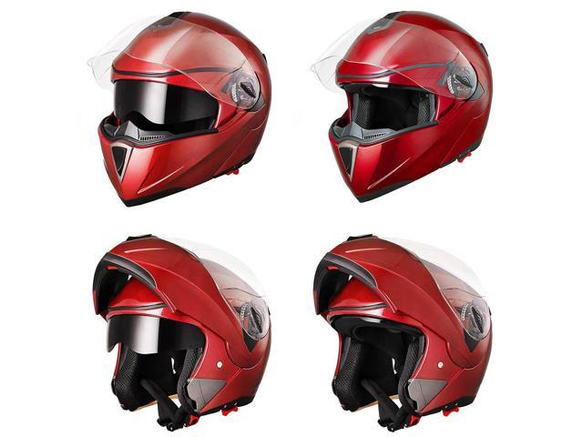 Full Face Flip up Modular Motorcycle Helmet DOT Approved Dual Visor Motocross Red L