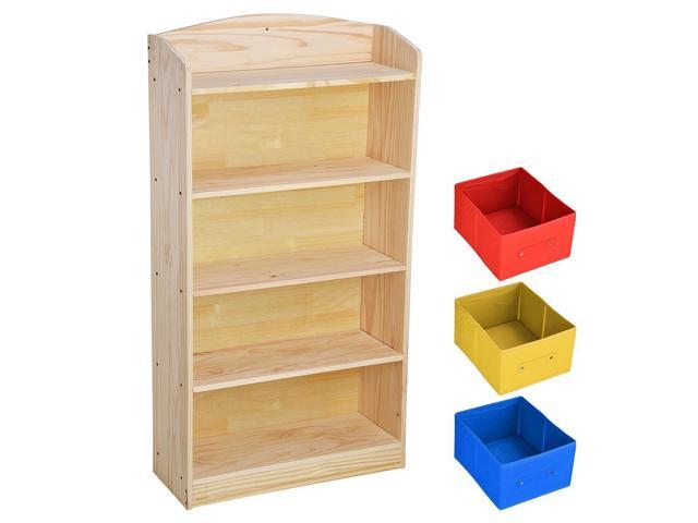 5 Tier Wood Bookcase Bookshelf with 3 Non-woven Bins Storage Organizer Book Rack Shelving Furniture