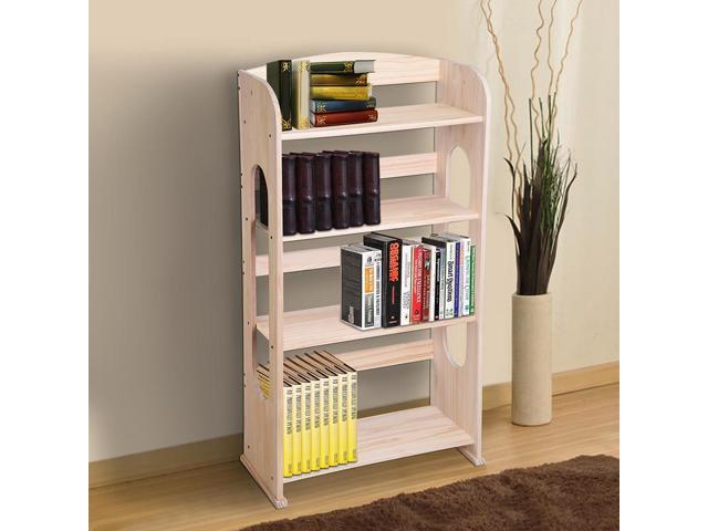 4 Tier Wood Bookcase Bookshelf Hollow Out Storage Organizer Display Shelving Furniture Natural Wood