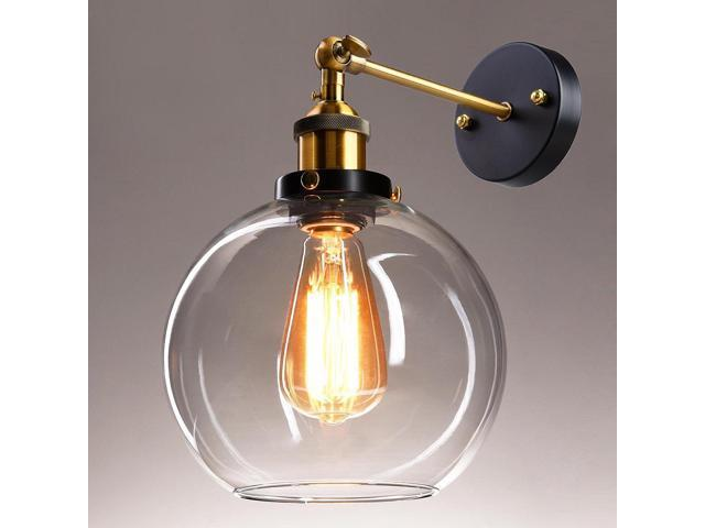 "Vintage Industrial 7.9"" Bell Shape Glass Light Wall Sconce Edison Lamp Transparent"