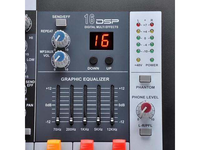 10 Channel Professional Power Mixer Amplifier 16DSP LCD Recording USB Slot