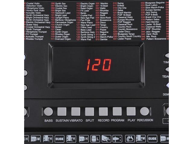 61 Key Full Size Electronic Music Keyboard Electric Piano LCD Display USB Input MP3 Black
