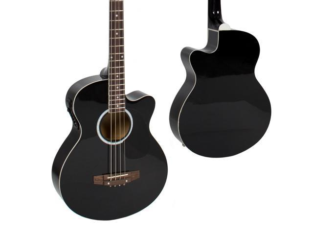 Best Choice Products 22-Fret Full Size Acoustic Electric Bass Guitar w/ 4-Band Equalizer, Adjustable Truss Rod - Black