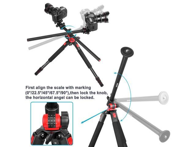 Neewer Camera Tripod with 360 Degree Rotatable Center Column and Ball Head QR Plate- 72.5 inches Portable Magnesium Aluminium 4 Section Tripods Legs for DSLR Cameras Video Camcorders up to 33 pounds