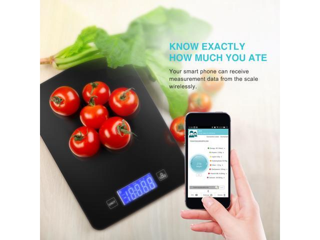 Smart Bluetooth Food Scale with App, Digital Wireless Kitchen Scale with Reinforced Glass and Touch Buttons , 11lb 5kg Capacity, LED Display with Backlit, for Healthy Diet