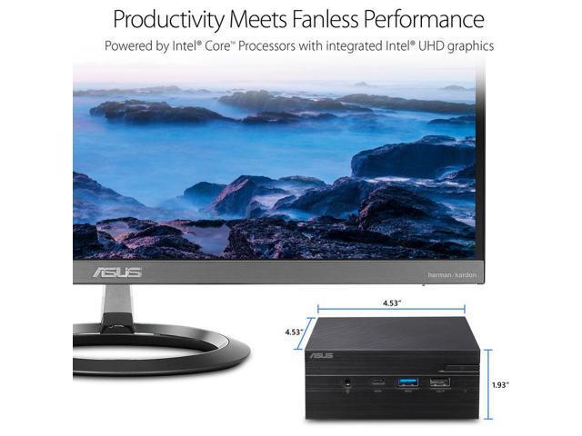ASUS VivoMini PN60 Mini PC/HTPC, Intel Dual-Core i3-8130U 2.2GHz Upto 3.4GHz, 8GB DDR4, 128GB SSD, 4K UHD Support, 2x HDMI, Dual-Monitor Capable, USB, Wifi, Bluetooth, Windows 10 Pro