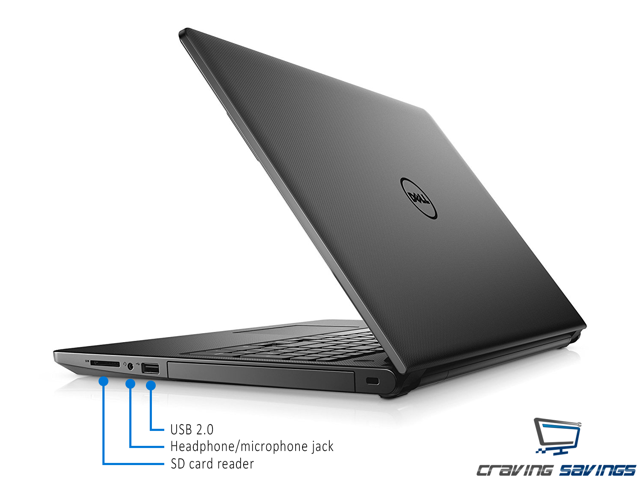"Dell Inspiron 3000 Series 15.6"" HD Notebook, Intel Dual-Core i3-7130U 2.7GHz, 8GB DDR4, 128GB SSD, HDMI, Card Reader, USB, WiFi, Bluetooth, MaxxAudio, Windows 10 Professional 64Bit"