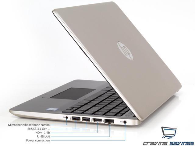 """HP 14.0"""" HD Notebook, Intel Dual-Core i3-7100U 2.4GHz, 8GB DDR4, 128GB SSD, HDMI, Card Reader, Intel HD Graphics 620, 1x USB 3.1 Type-C, 2x USB 3.1, Wi-Fi, Bluetooth, Windows 10 Home"""