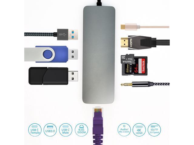 Fuji Labs USB 3.1 Type-C 6-in-1 Hub Adapter, to 2 USB 3.0, MicroSD, SD/MMC, HDMI, USB-C