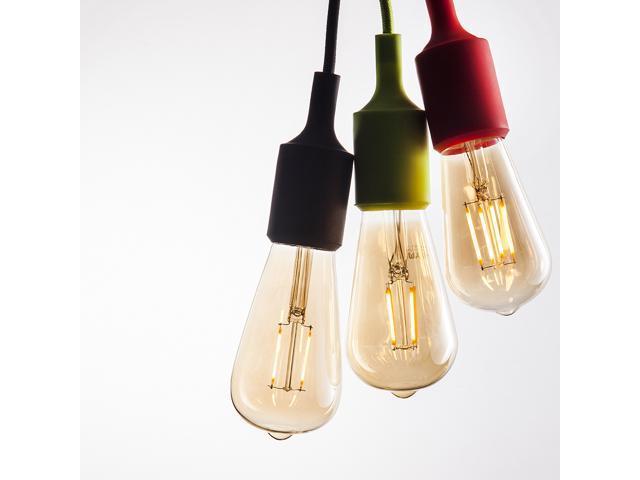 Vintage Edison LED Bulb ST21 2W Dimmable LED Light Bulb AC120V Amber Glass Decorative LED Filament Bulb 2200K Warm White (4 PACK)
